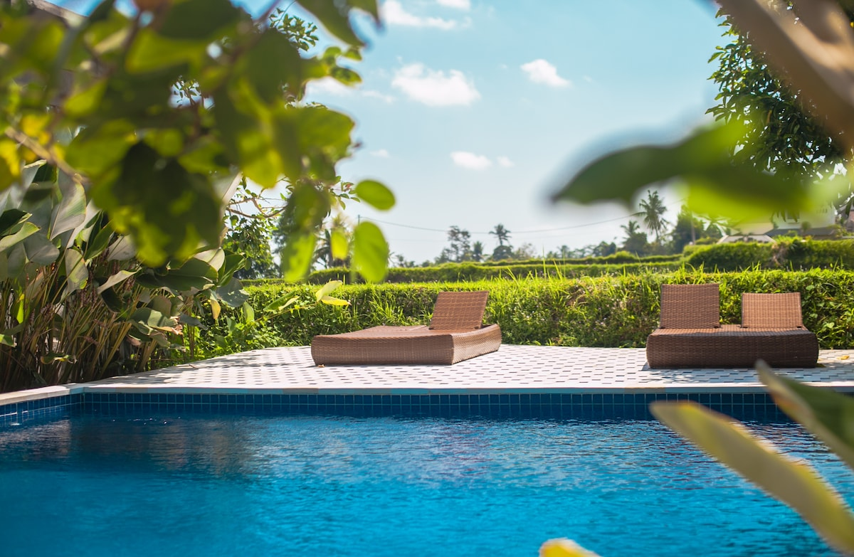 Big private  swimming pool just for this villa - facing the rice paddies to the  sunset side