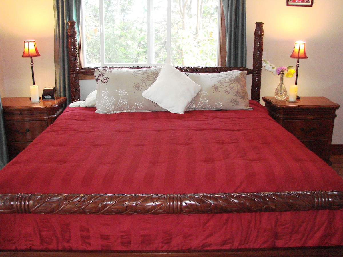 Comfortable four poster bed...