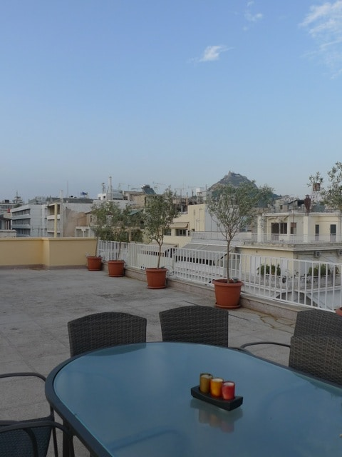Shared terrace,with  panoramic view of Athens.Please, no parties, no music, no over consumption of Alcohol.