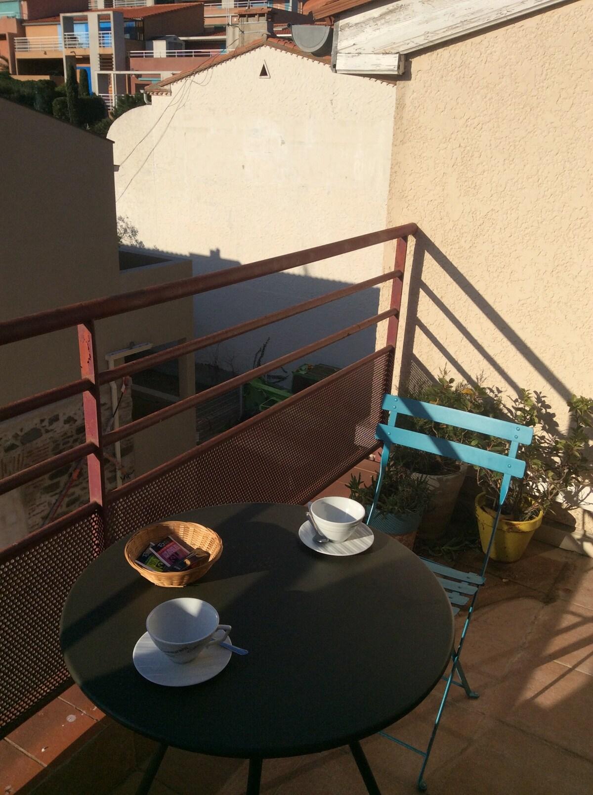 La petite terrasse privée.