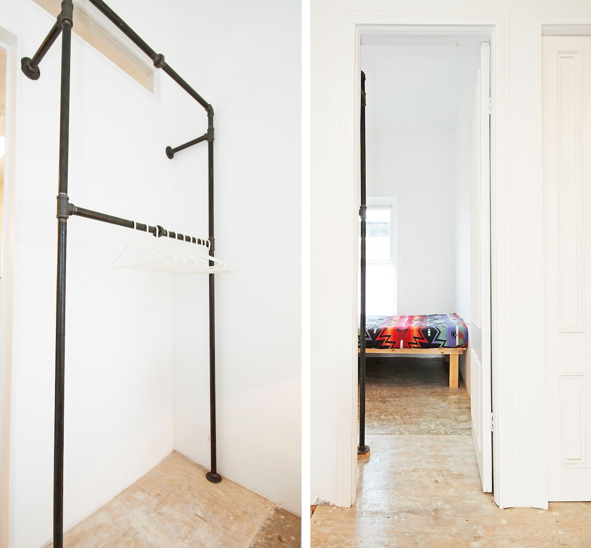 This is a split image. On the left is the double high clothes rail for your stuff, hangers included. On the right is the view into the room from the living room.