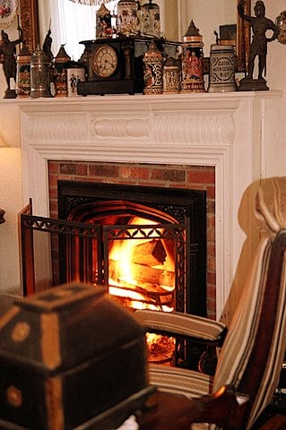 During winter months, the fire is inside for all to enjoy!