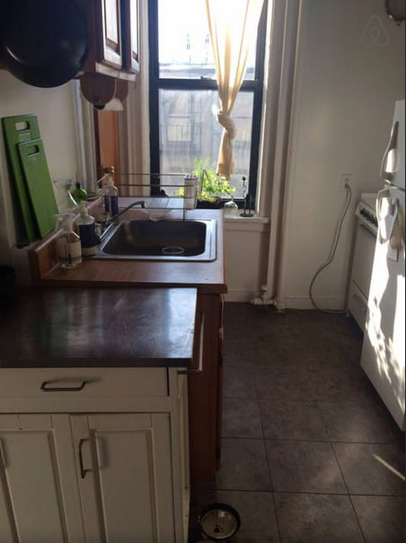 sunny view of the kitchen
