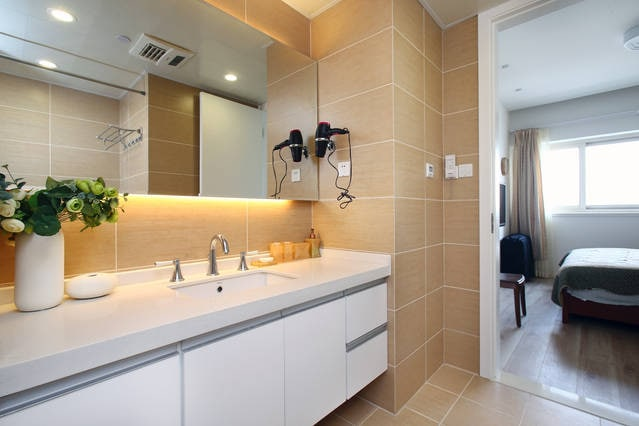 Large attached bathroom with own entrance