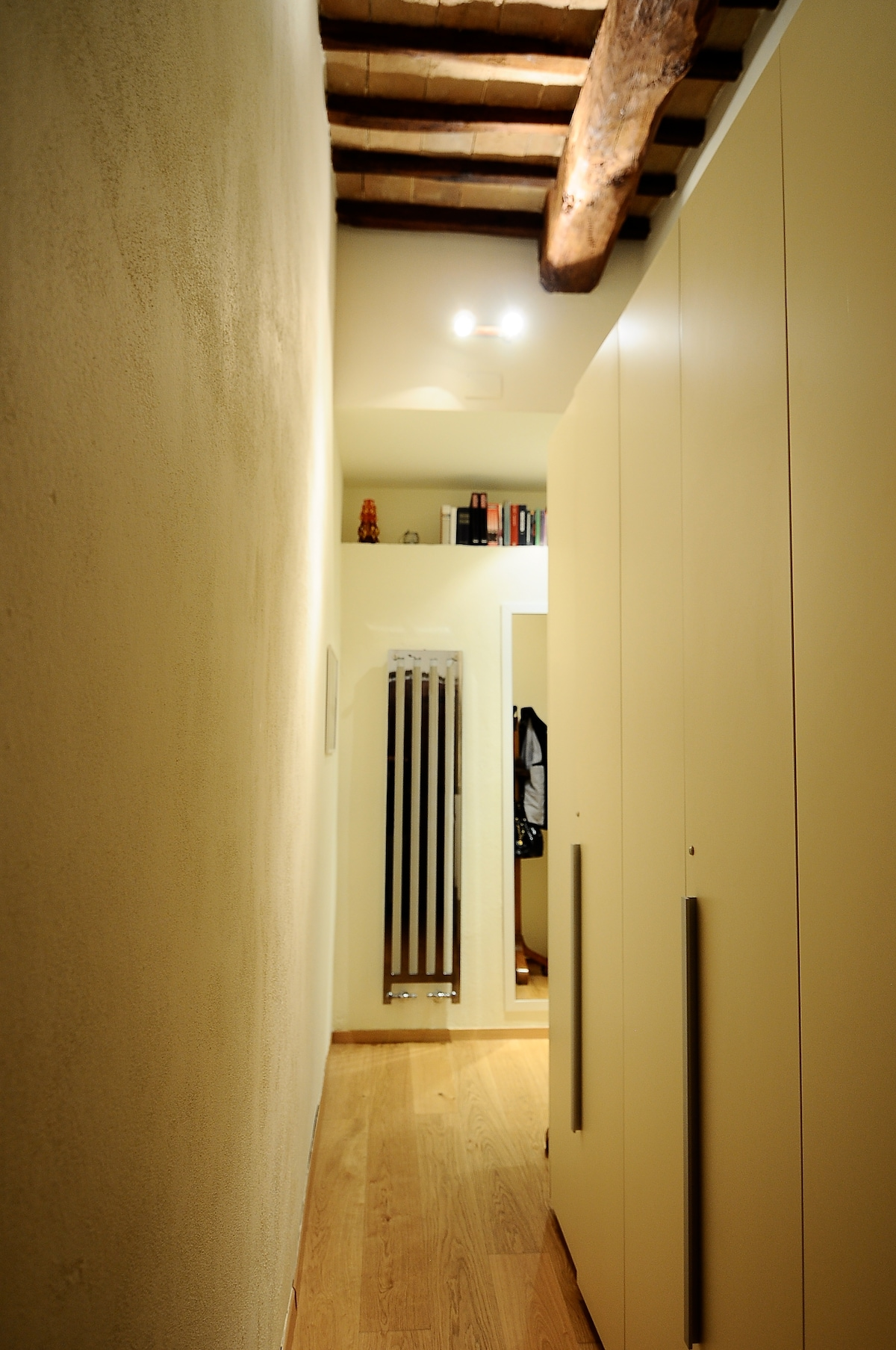 long hallway with wardrobe
