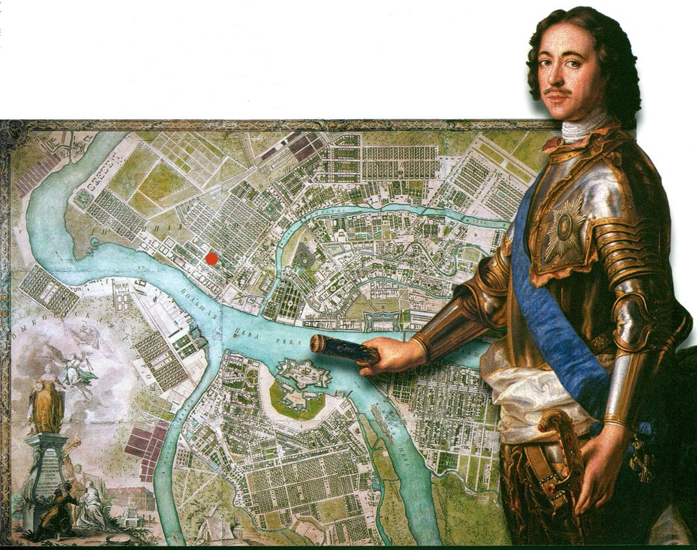Peter the Great: Location on a map of 18 centuries.