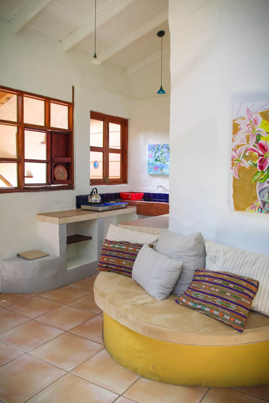 Kitchen and couch at Casita