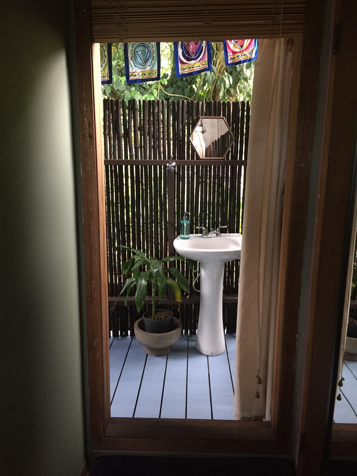 Step out into your outdoor bathroom.