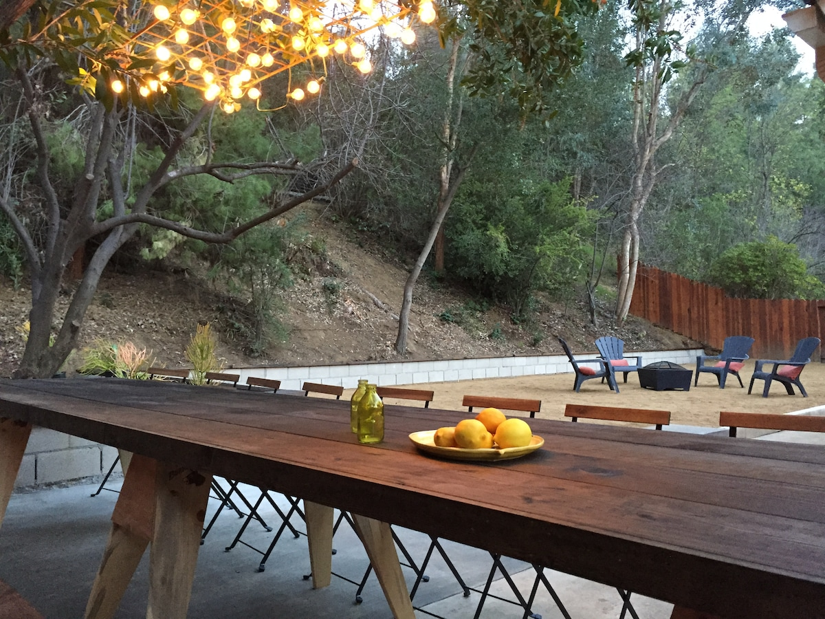 Outdoor Chandelier, Lights & Sound System great for entertaining