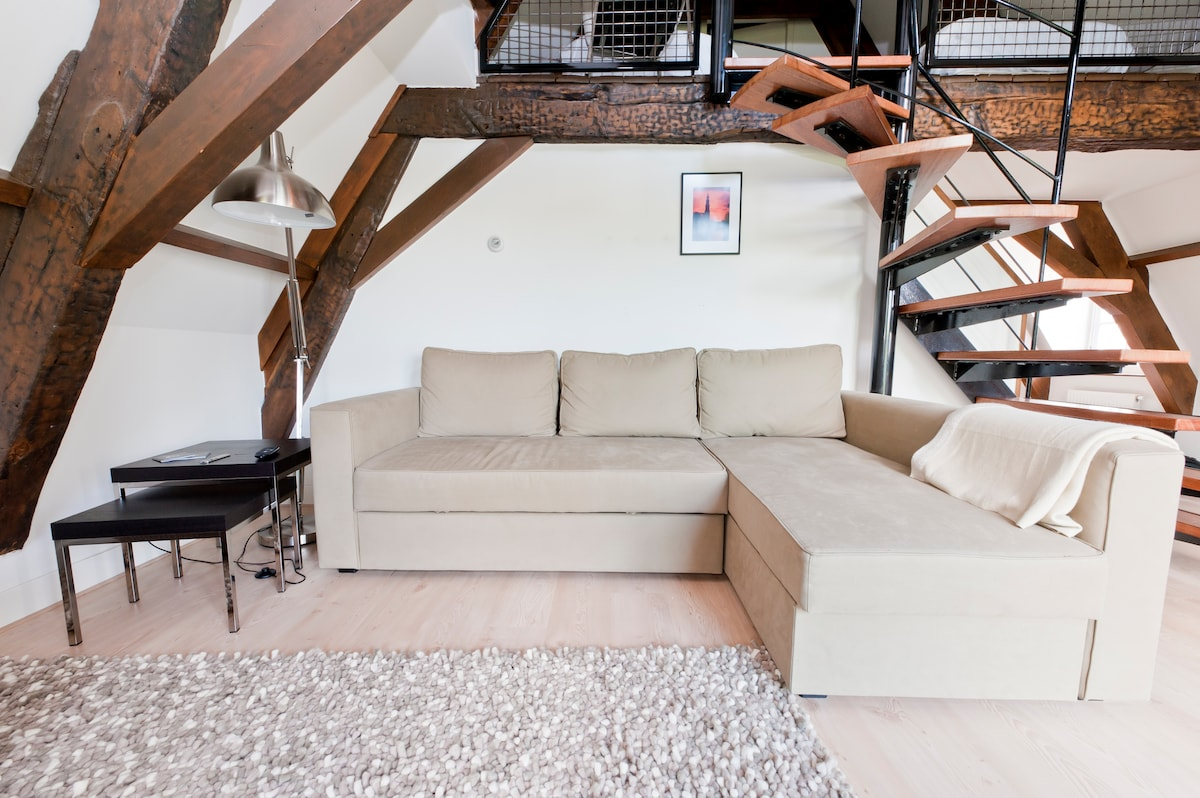 Lounge in the  Loft with a large sofa that can be turned into a comfortable  double sofa bed. (Loft 4th floor)