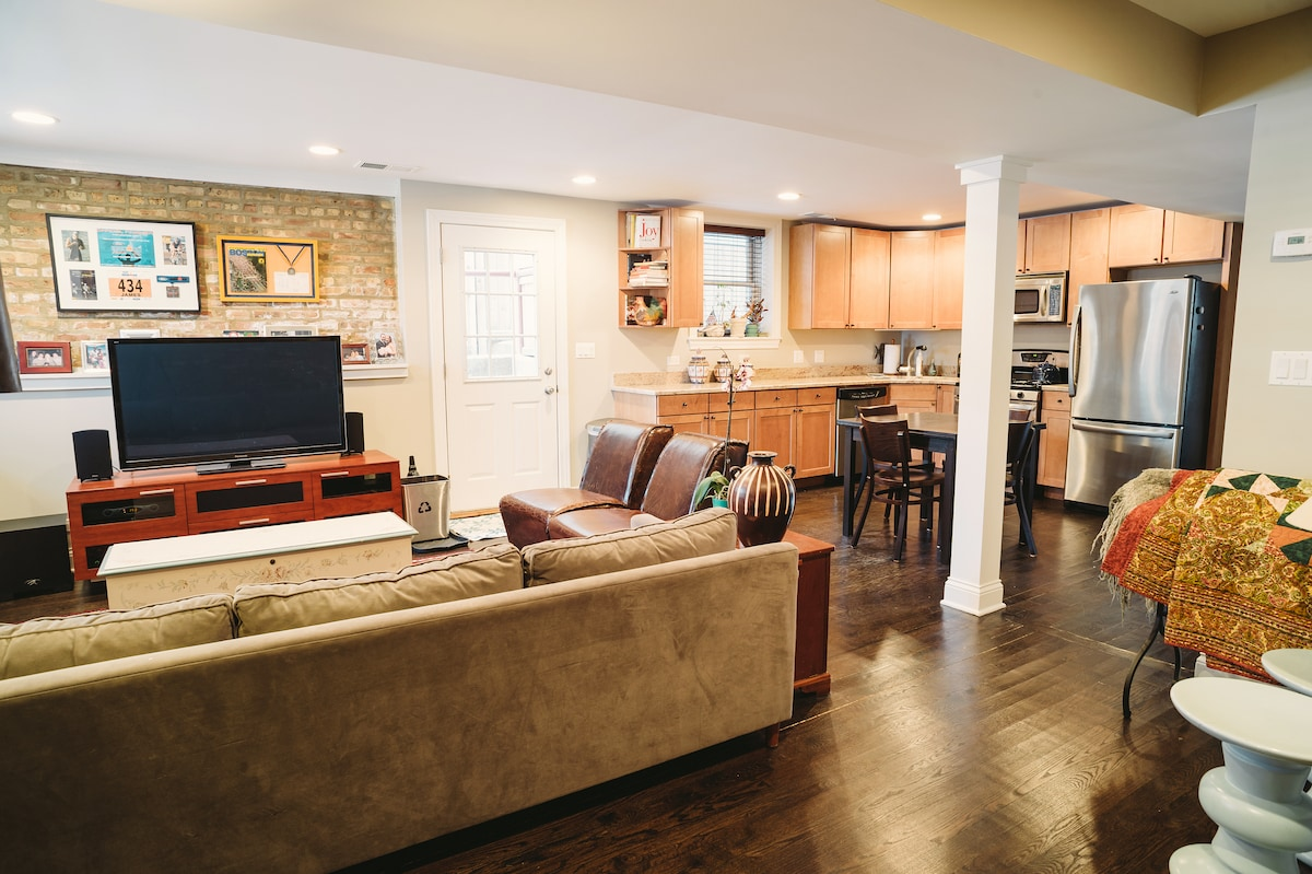 Comfortable open floorplan with private queen bedroom and laundry.