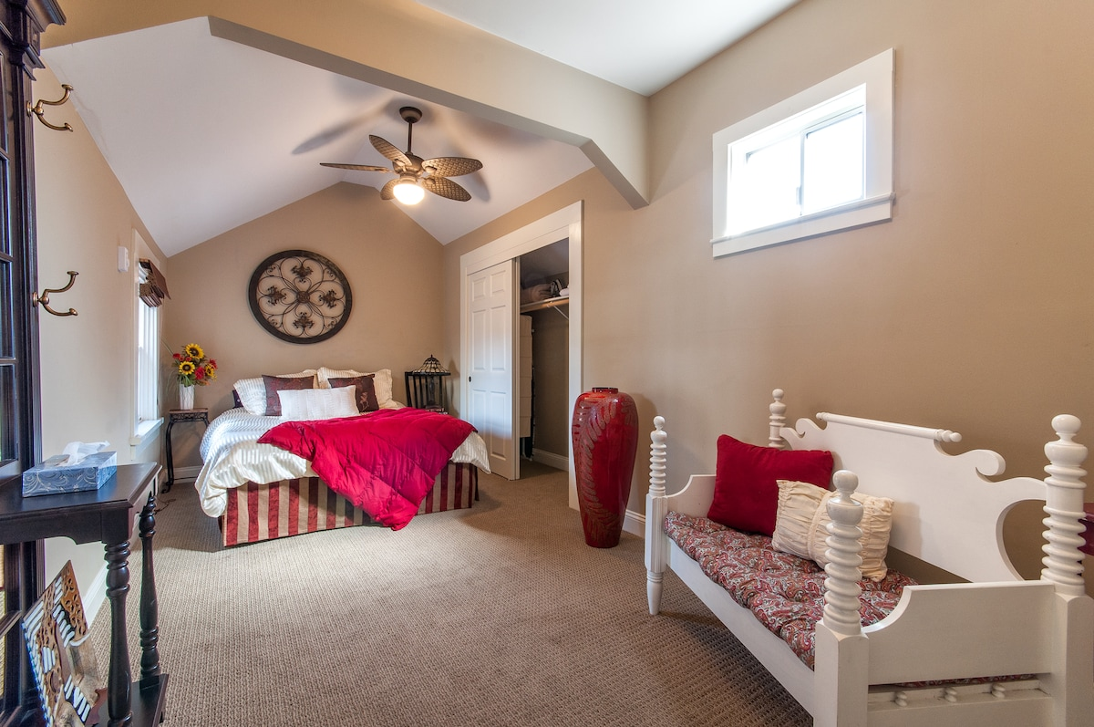 Snuggle up beneath the covers of this cozy Queen bed in this architecturally unique bedroom with closet.