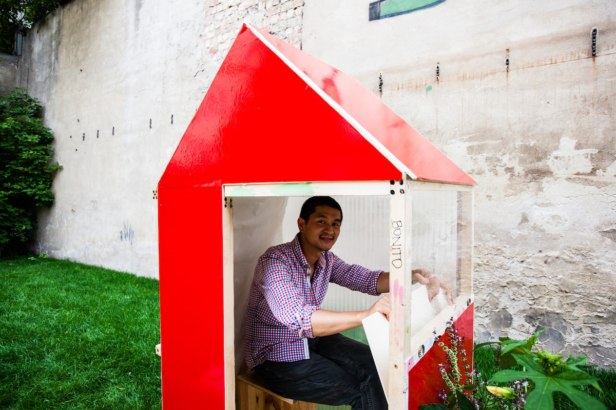This prototype has a foldable desk. Don't worry, you can add a slide door for more privacy.