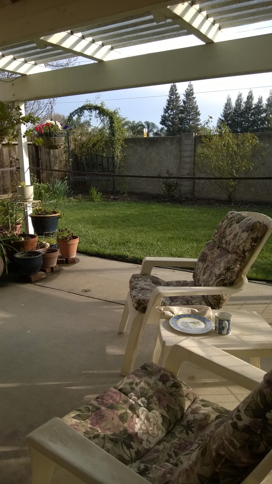 Our patio is a nice place to relax outdoors with a glass of iced tea or cup of coffee.