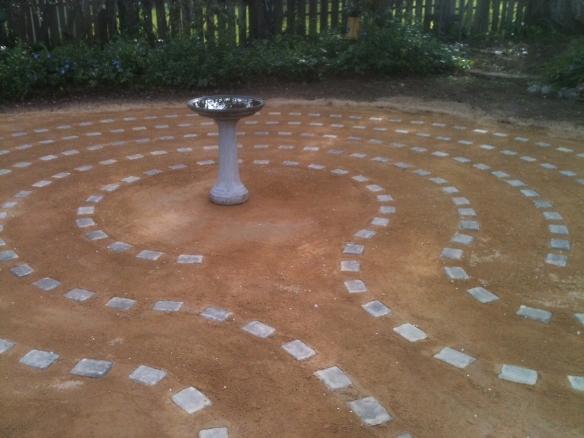 To replace drought riddled lawn Labyrinth just completed in entire middle yard-