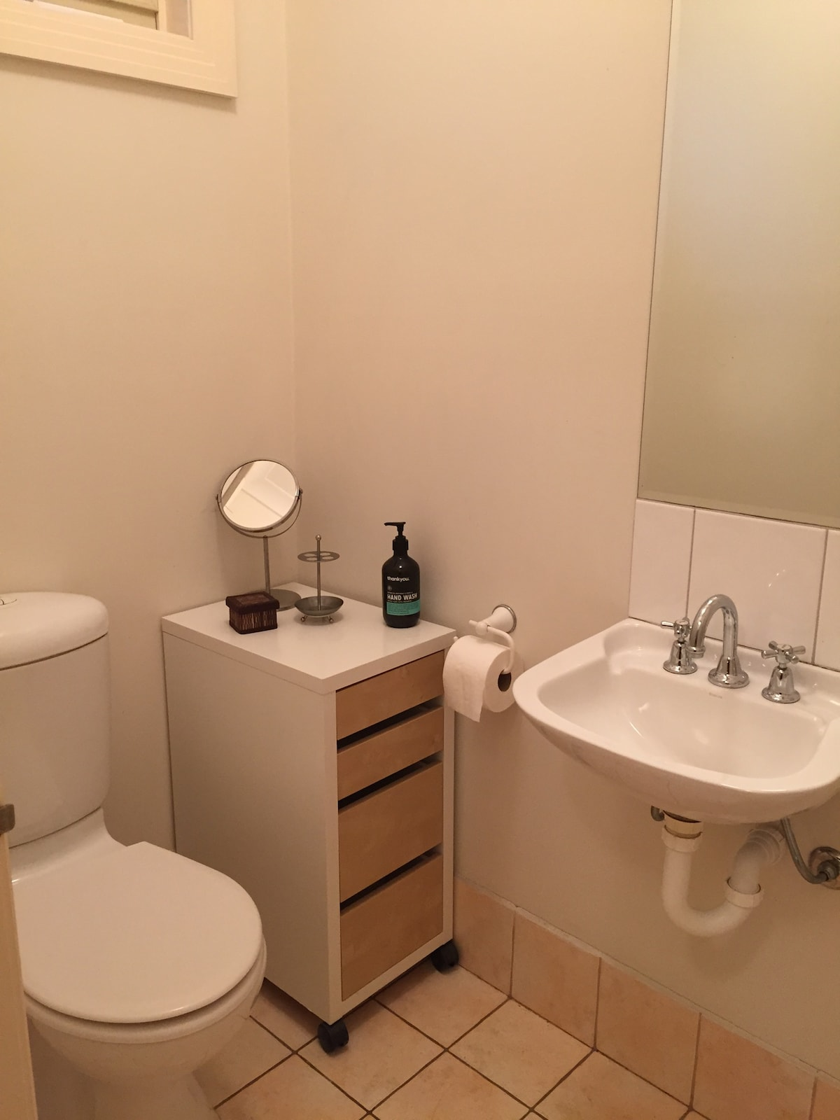 Your own toilet and powder room