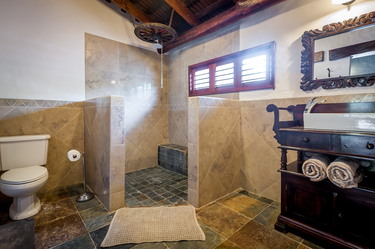 Your hot water cowboy shower- a private ensuite is attached to El Sueno