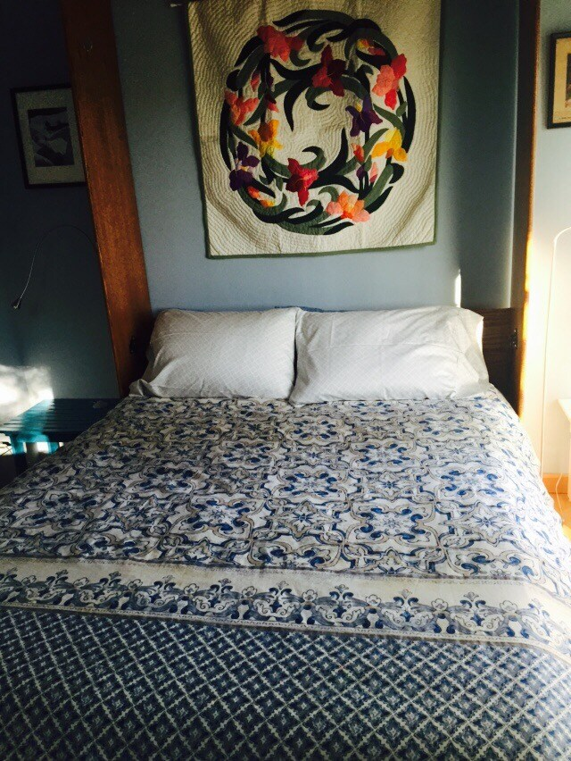 """Queen size pillow top bed with French doors leading to deck. Great views of the forest from bed. """"One of the nicest places we have ever stayed on airbnb. The beds were super comfy, and the treats Jill left were wonderful!! We hope to visit again soon."""" Ai"""