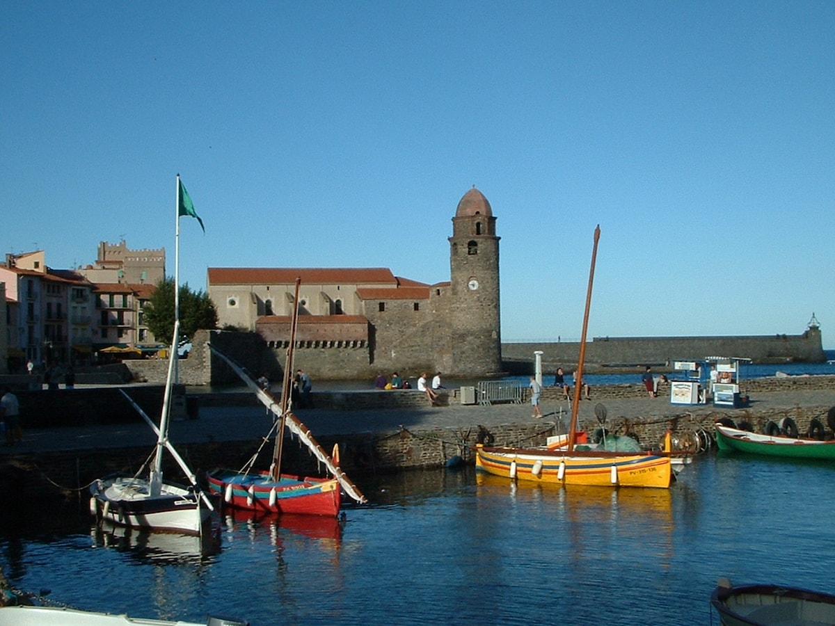 Classic view of Collioure with iconic clocher