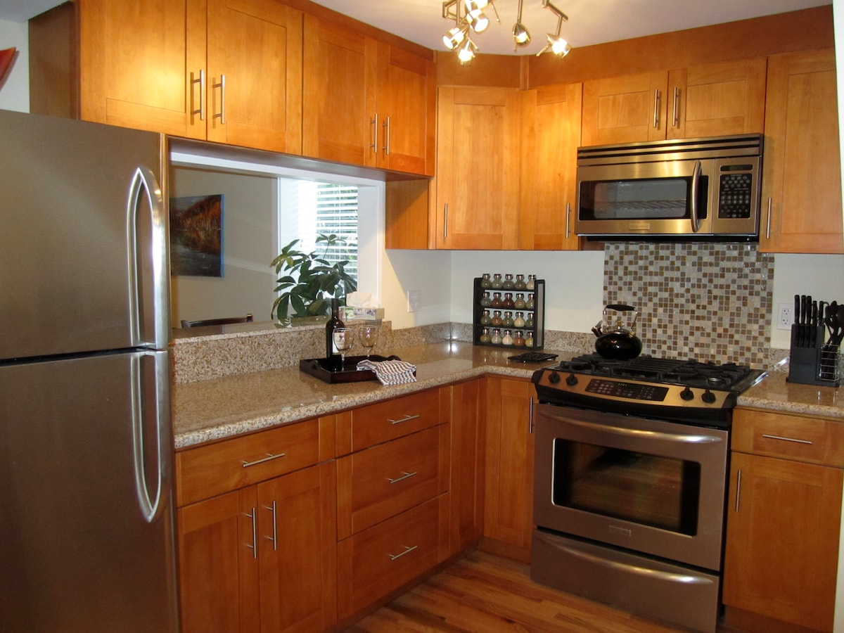 Deluxe professional grade stainless steel appliances with spices and cutlery.