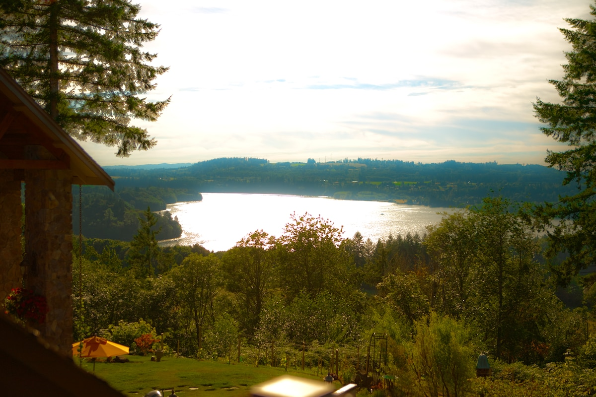 Lake Mayfield as viewed from The Star of the North Suite. Westerly view and stupendous sunsets...Also visible is the Tilton and Cowlitz Rivers, the Koi pond and grounds...