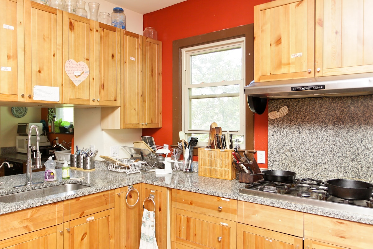 Our kitchen is a joy to cook in, and guests are welcome to use it.