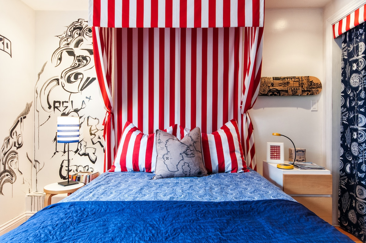 Your canopy bed is bright, charming and comfortable