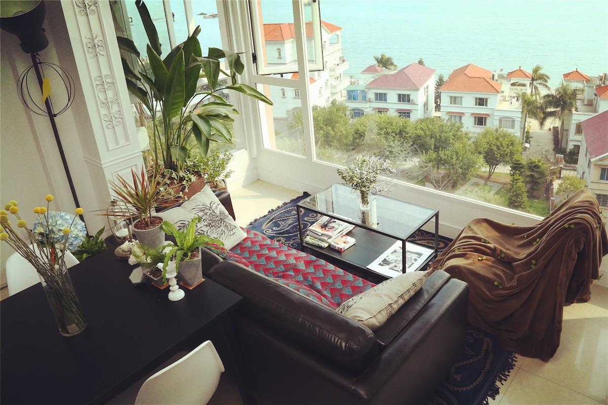 环岛路,无敌海景,2间客房,大厅沙发床可加铺