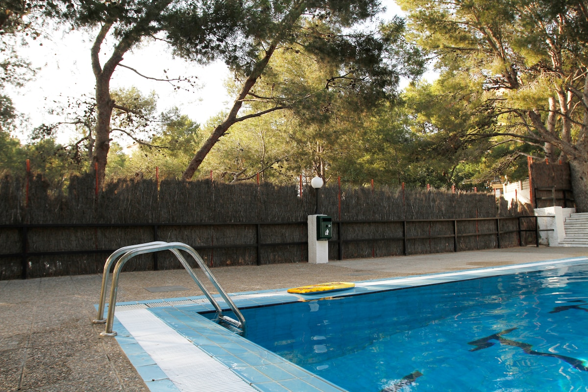 Private swimming pool in the apartment community