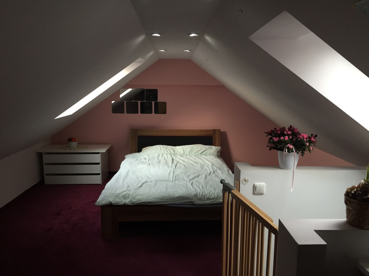 Lovely attic room close to airport