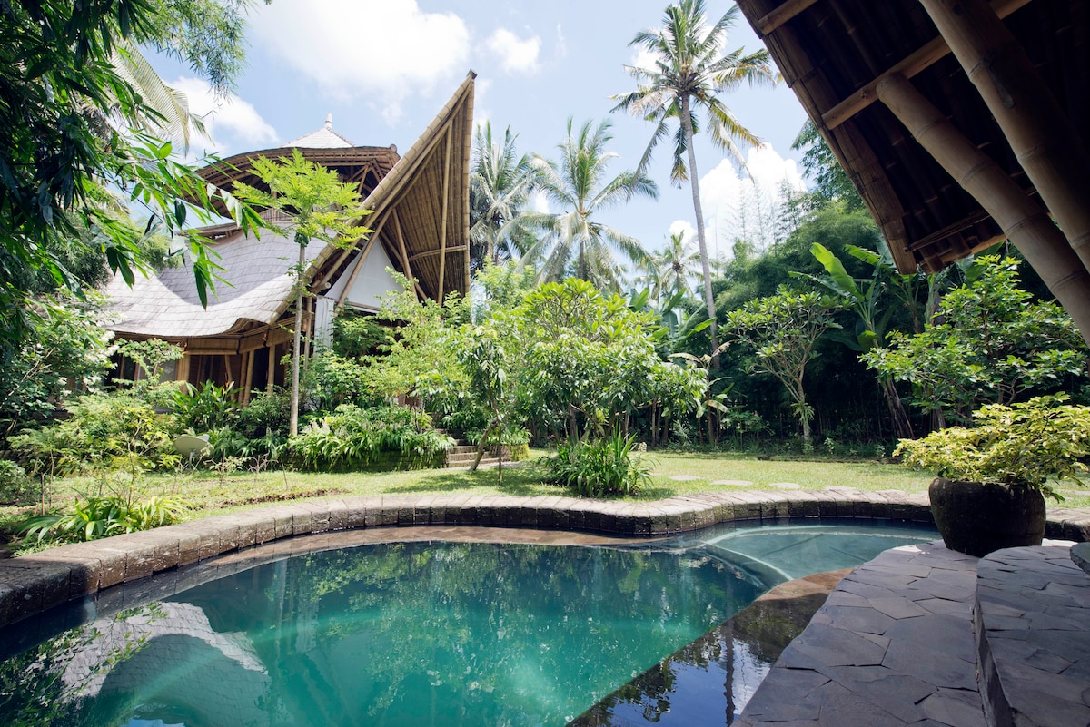 All Bamboo 3 storey house. Surrounded by nature, and organic gardens with pool