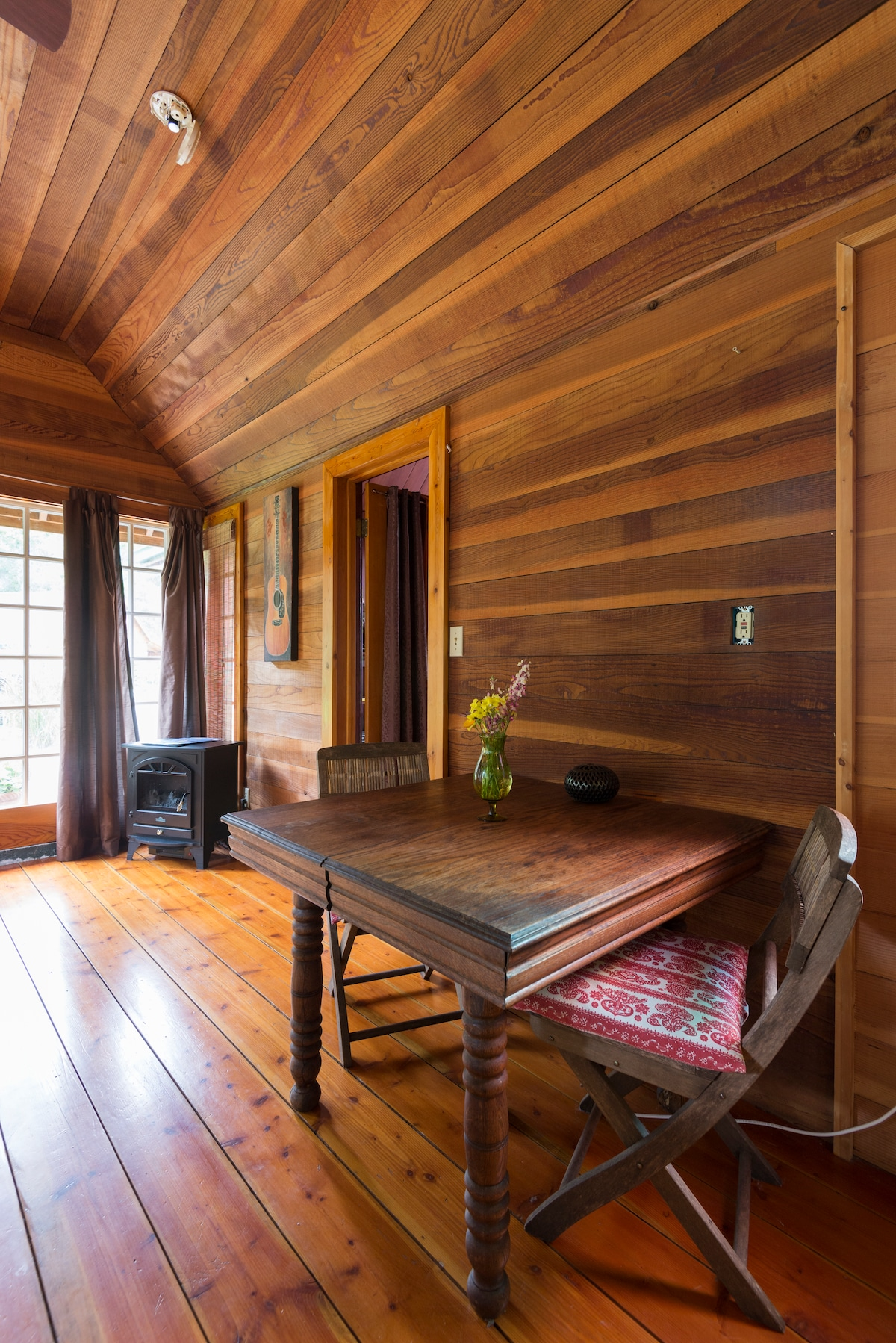Peaceful and ideal for getting some writing done, the Glass House has a small writing desk.
