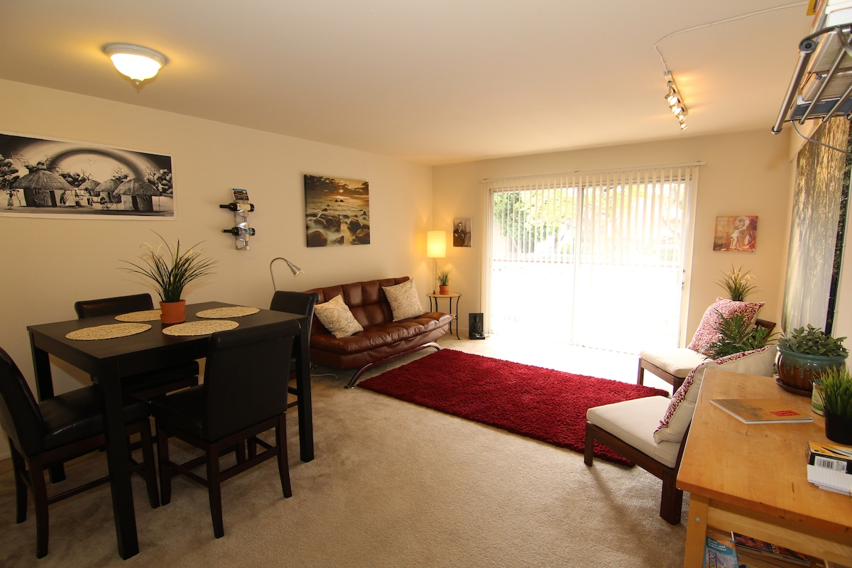 This is the common living area. All of this is yours. Feel free to hang out and enjoy the sunshine.