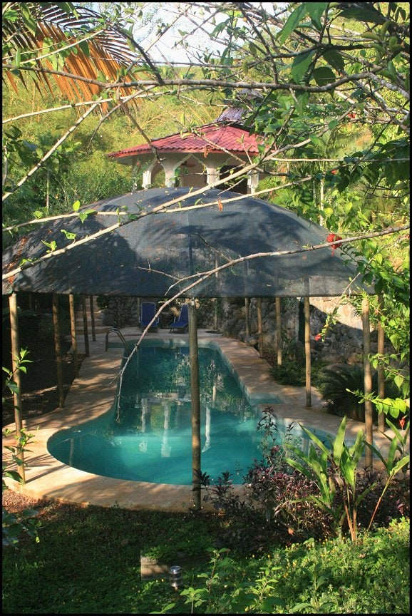 view of the 51 ft saltwater private pool just steps from your veranda.