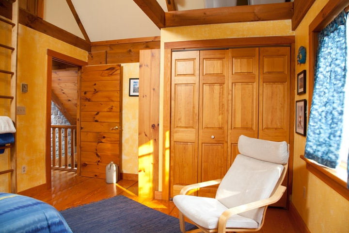 Central air ensures a comfortable night's sleep during the summer. Our large wood stove, just below the bedroom door, keeps us warm all winter.