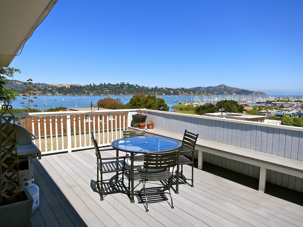 Gas BBQ, table for 4. Views of Angel Island, Belvedere, the Harbor, the Bay, City of Oakland and the Bay Bridge.