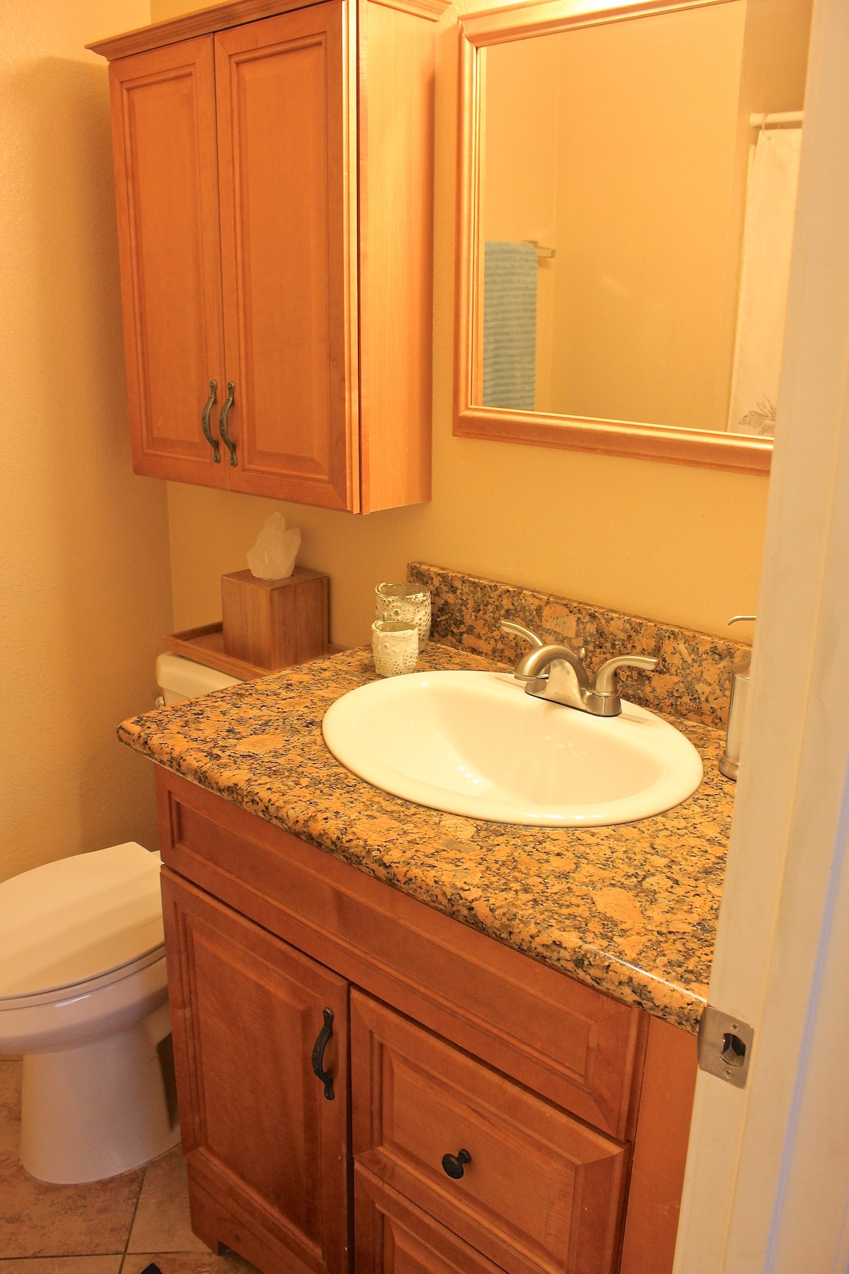 Granite counter tops and added space for your personal belongings