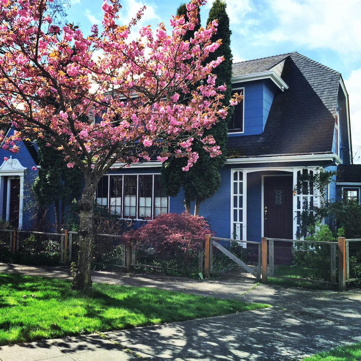 Our 1924 Craftsman home with modern updates sits on a spacious corner lot with ample free street parking in front.