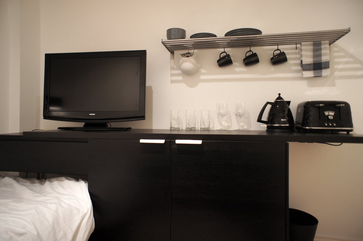 Your kitchenette has a fridge, microwave, toaster and kettle.