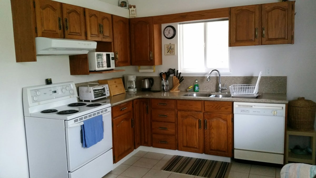 View of range, sink, dishwasher and cabinets
