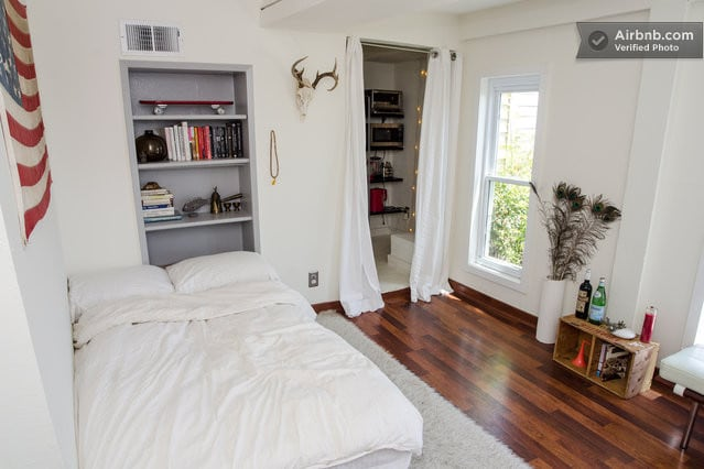 light filled studio apartment with walk-in closet, euro-style kitchenette, private bathroom and outdoor seating area...