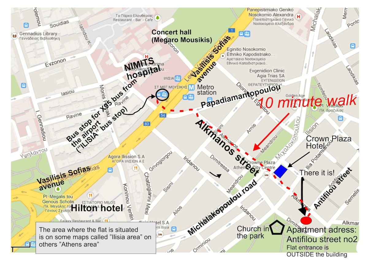 """How to get to the flat from the X95 airport bus stop, called """"Ilisia"""" bus stop."""