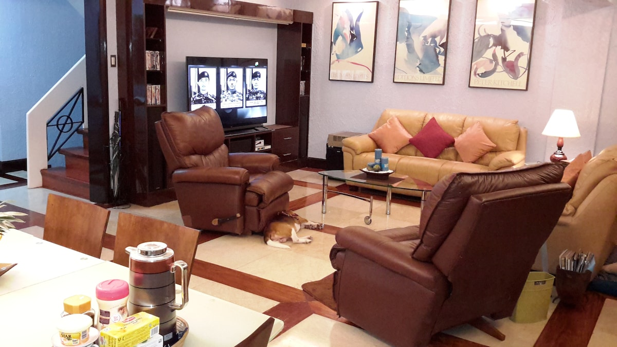"""living room with 65"""" smart TV"""