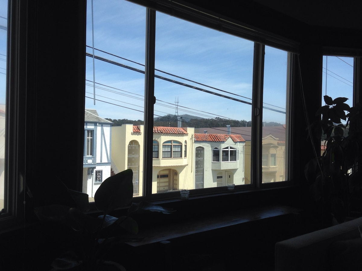 The view of Sutro Towers from the living room's bay windows