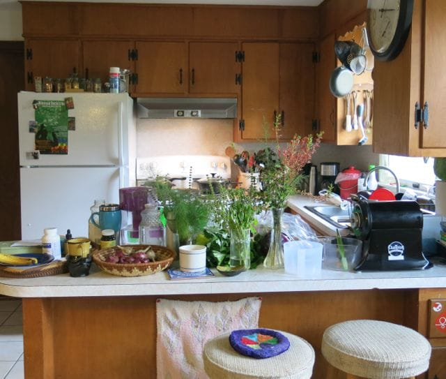 The small kitchen area