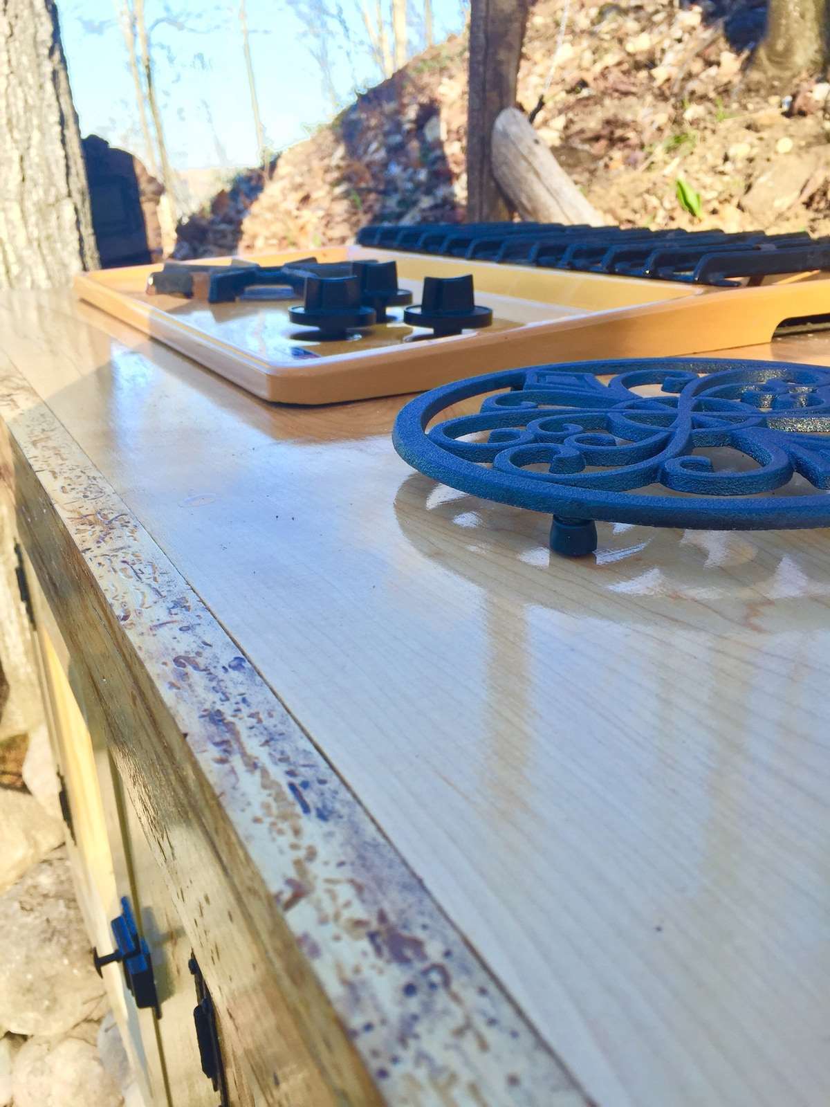 Maple outdoor kitchen countertop.