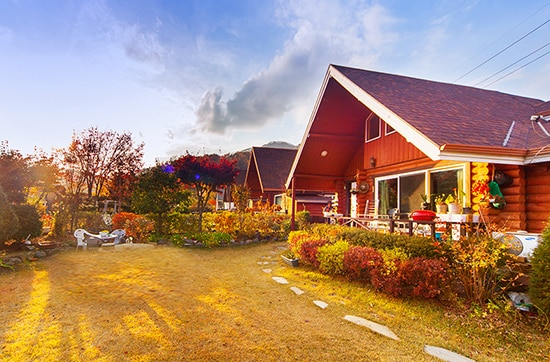 전망 좋고 정원 넓은 2층 통나무집 Log cabin House