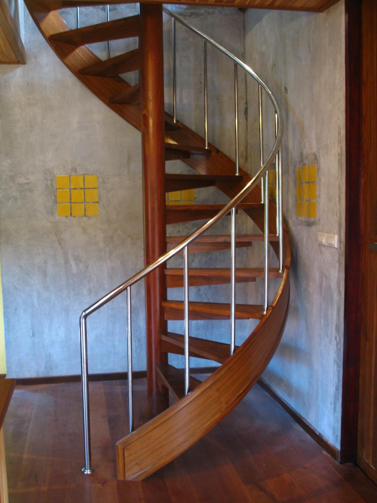 Wooden spiral stair.