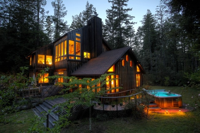 The House and Hot Tub  At Night