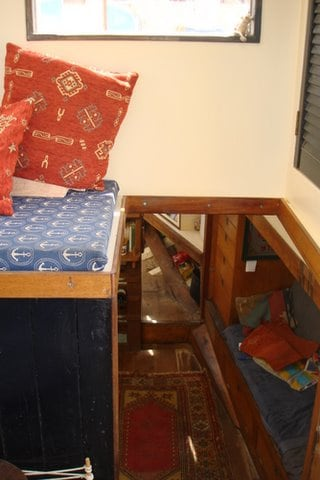 the stairs from the wheelhouse to the saloon